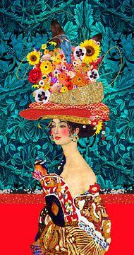 Vrolijk Gustav Klimt vrouw met bloemen hoed van Nicole Roozendaal