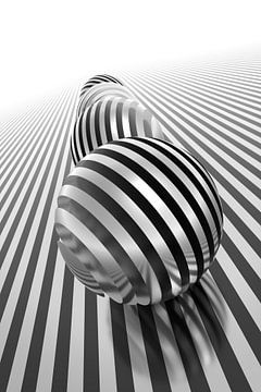 Abstracte chromen ballen van Jörg Hausmann