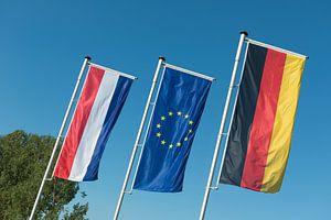 Nederlandse vlag, Europese Unie vlag en Duitse vlag van
