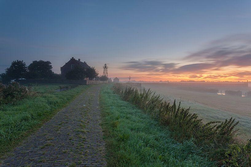 Zonsopkomst Schokland (Flevoland, Nederland) van Adrian Visser