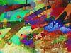 Modernes, abstraktes digitales Kunstwerk in Orange, Gelb, Grün von Art By Dominic Miniaturansicht