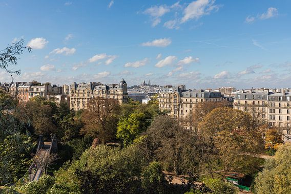 Het Parc des Buttes-Chaumont met uitzicht op de Sacré-Coeur in Parijs