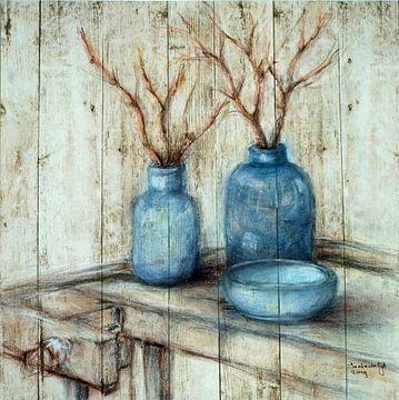 Blauwe vazen. van Ineke de Rijk