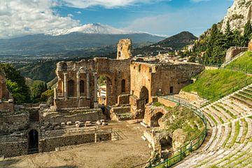 Teatro Greco, Taormina et Mont Etna, Taormina, Sicile sur Peter Schickert