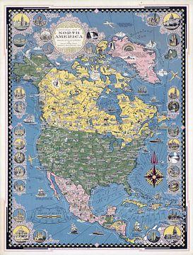 Historische kaart van Noord-Amerika van