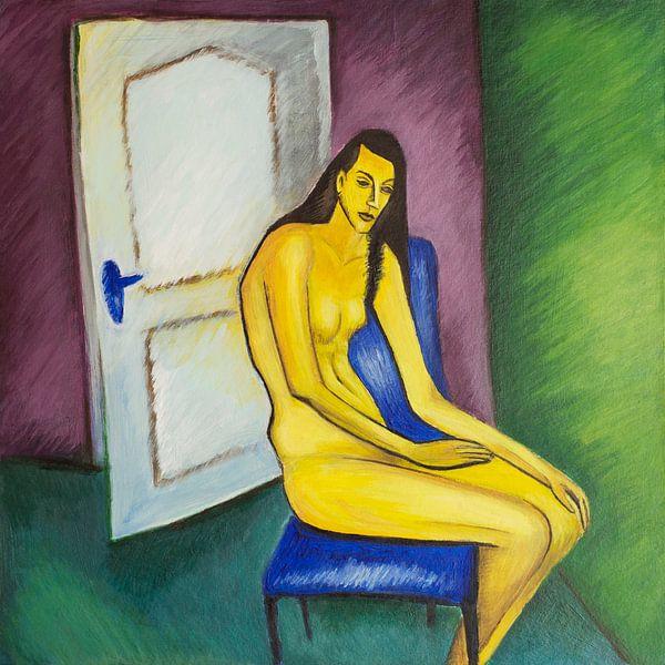 Yellow Figure (A la Kirchner) van Marina Coric
