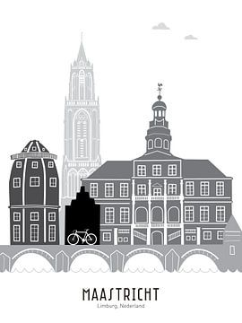 Skyline-Illustration Stadt Maastricht schwarz-weiß-grau von Mevrouw Emmer