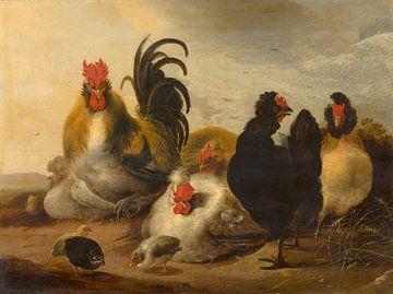 Hahn und Hühner in einer Landschaft - Melchior d'Hondecoeter