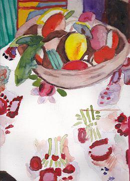Stilleven met fruitschaal naar Matisse van Catharina Mastenbroek