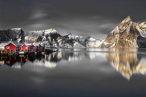Vissershuisjes op de Lofoten van Paul Roholl