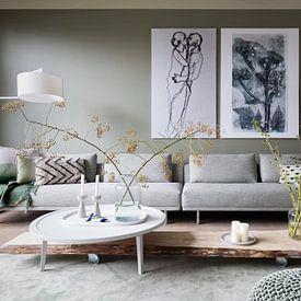 Klantfoto: Botanische planten en bloemen afdruk Fluitenkruid  (gezien bij vtwonen) van Angela Peters, op canvas