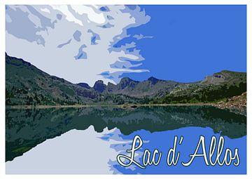 Vintage poster Lac d'Allos, Frankrijk van Discover Dutch Nature