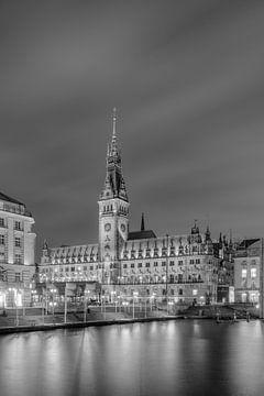 L'hôtel de ville de Hambourg en noir et blanc sur Michael Valjak