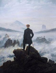 De wandelaar boven de nevelen, Caspar David Friedrich van