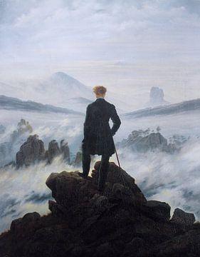 De wandelaar boven de nevelen, Caspar David Friedrich van Meesterlijcke Meesters
