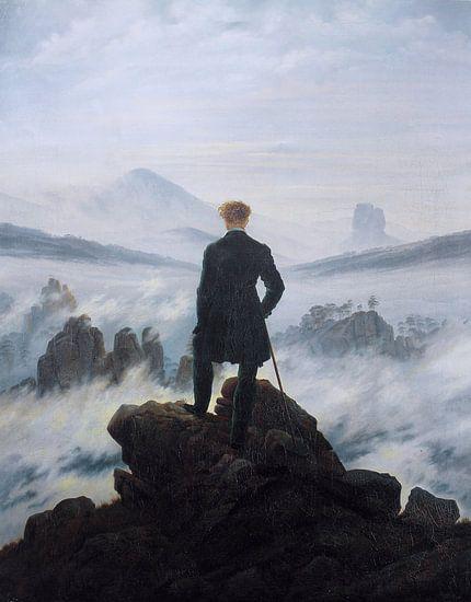 Der Wanderer über dem Nebelmeer, Caspar David Friedrich von Meesterlijcke Meesters