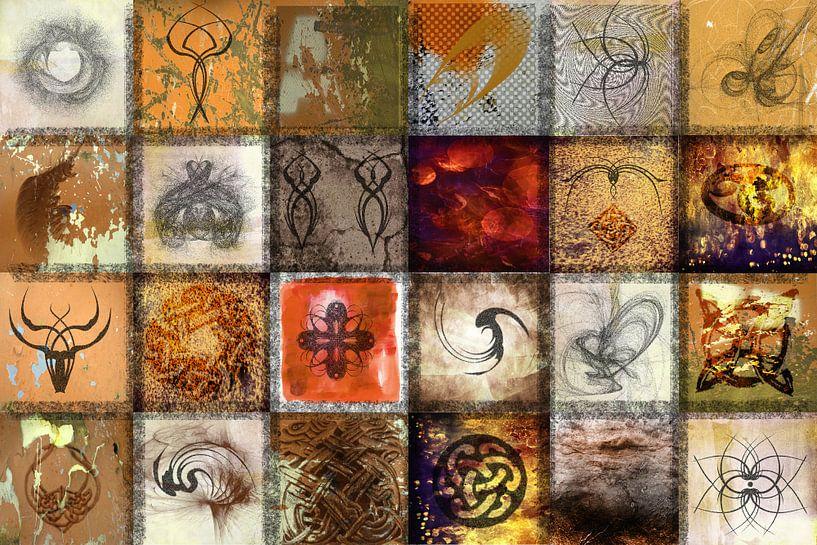 Collage in okertinten met tekens en symbolen van Rietje Bulthuis