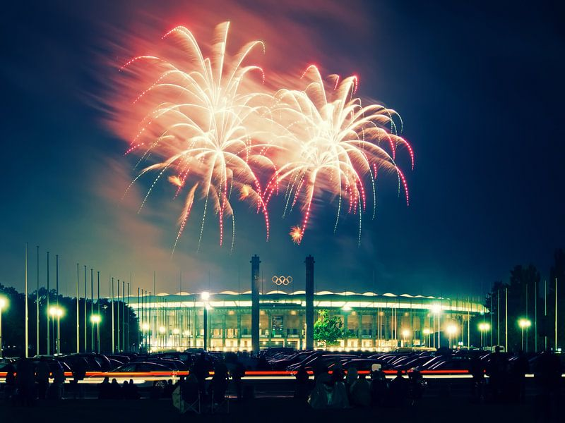 Berlin – Olympic Stadium with Fireworks van Alexander Voss