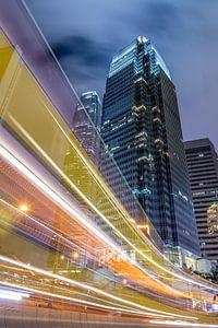 Lighttrails en  Architectuur, Hong Kong  van