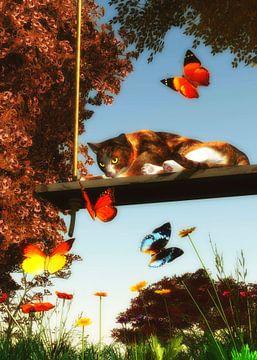 Katten – Een kat kijkt naar de vlinders van Jan Keteleer