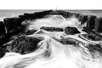 Zeegezicht vanaf het strand. van Eddy Westdijk