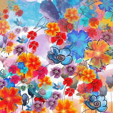 Bloemen collage van Nicole Roozendaal