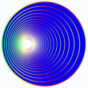 bal in het blauw met gekleurde cirkels