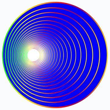 bal in het blauw met gekleurde cirkels van EnWout