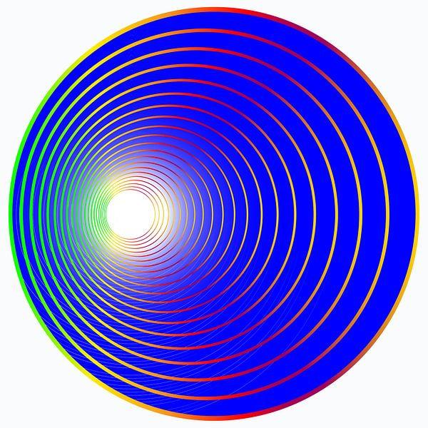 bal in het blauw met gekleurde cirkels von EnWout