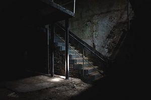Lichtfall auf Treppe im dunklen Keller von Danique Verkolf