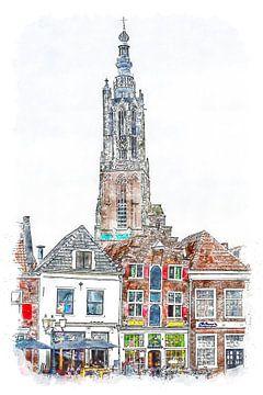 Onze Lieve Vrouwetoren in Amersfoort (kunst) van Art by Jeronimo