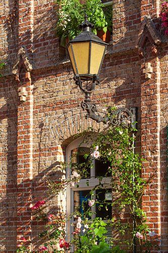 Alte Laterne und Fenster, Heiliggeisthof, Rostock, Mecklenburg- Vorpommern, Deutschland, Europa