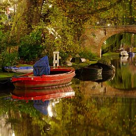 Oudegracht in Utrecht mit Geertebrug von Donker Utrecht