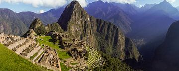 panoramisch uitzicht op Machu Picchu, Peru van