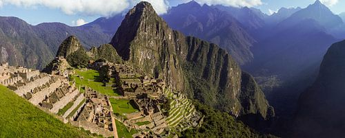 panoramisch uitzicht op Machu Picchu, Peru