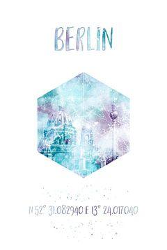 Coördinaten BERLINER DOM & TV toren | Aquarel van Melanie Viola