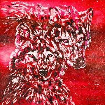 Rode winterwolf van Kathleen Artist Fine Art