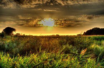 De polder in de avond. van Jeroen Bax
