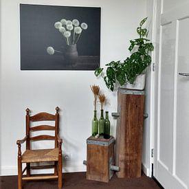 Klantfoto: Een bosje geluk, paardenbloemen in de stijl van de oude meesters (gezien bij vtwonen) van Joske Kempink, op canvas