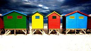 Muizenberg gekleurde strandhuisjes in Kaapstad