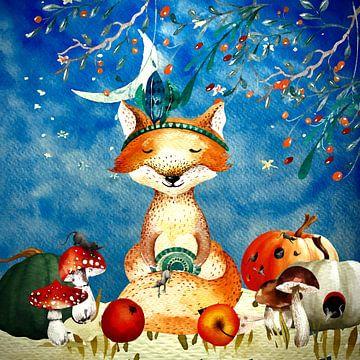 Illustration nocturne du renard en automne sur Uta Naumann
