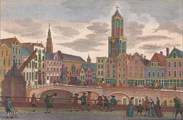 Gezicht op de Vismarkt te Utrecht, gezien richting het Stadhuis en de Domtoren, Georg Balthasar Prob