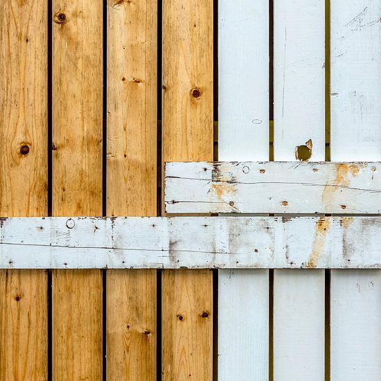 Abstract van lijnenspel met houten planken van Texel eXperience