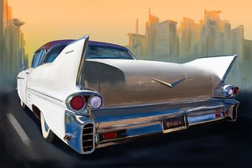 Cadillac klassieke auto stadscruise. van Jan Brons