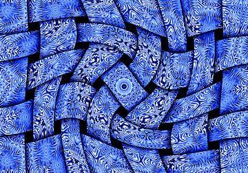 Waving Weaves in Blue (Gewoven Golven in Blauw) van Caroline Lichthart