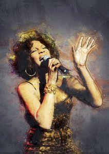 Whitney Houston olieverf portret