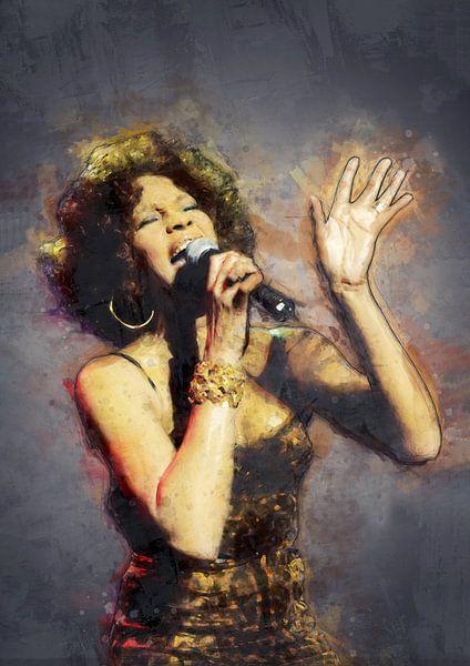 Whitney Houston olieverf portret van Bert Hooijer