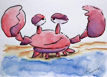 Mignonne illustration à l'aquarelle d'un crabe joyeux. Dessin humoristique pour une chambre d'enfant sur Emiel de Lange