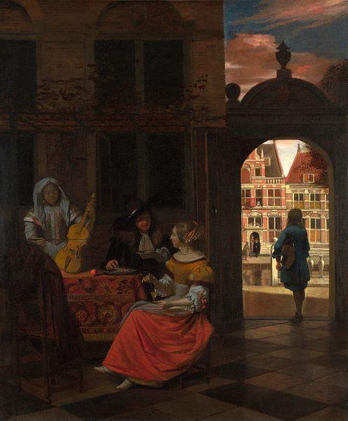 Eine Musikalische Party in einem Hof, Pieter de Hooch von Meesterlijcke Meesters