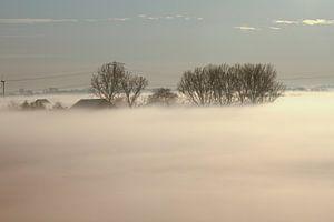 Landschap met een deken van mist in de vroege ochtend van